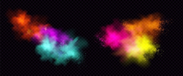 Explosões de pó colorido ou pó com partículas. Vetor grátis