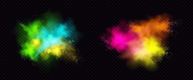 Explosões de pó de cor, pó de tinta com partículas. Vetor grátis