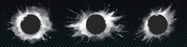 Explosões de pólvora branca com faixas pretas redondas. Vetor grátis