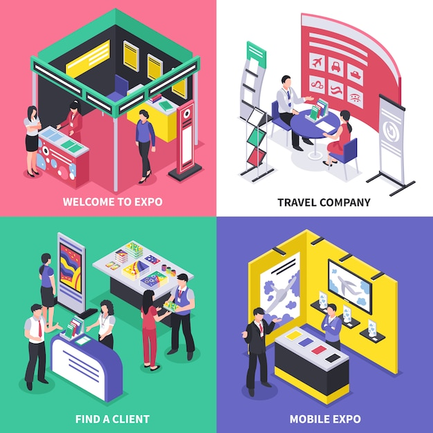 Expo stand concept Vetor grátis