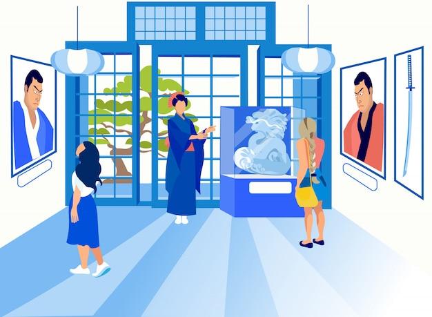 Exposição chinesa. gueixa vestida guia da mulher. Vetor Premium