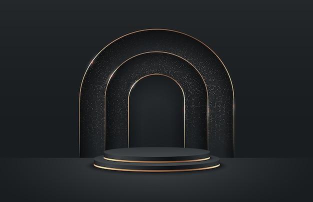 Exposição redonda abstrata para o produto no site em moderno. Vetor Premium