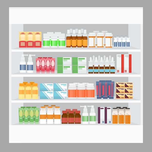 Expositor de remédios para venda em estante em farmácia Vetor grátis