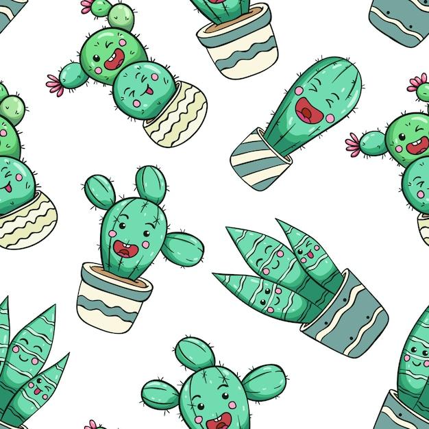 Expressão engraçada de cacto com cara de kawaii usando padrão sem emenda de estilo doodle Vetor Premium
