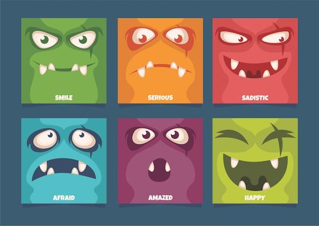Expressão facial de monstro Vetor Premium