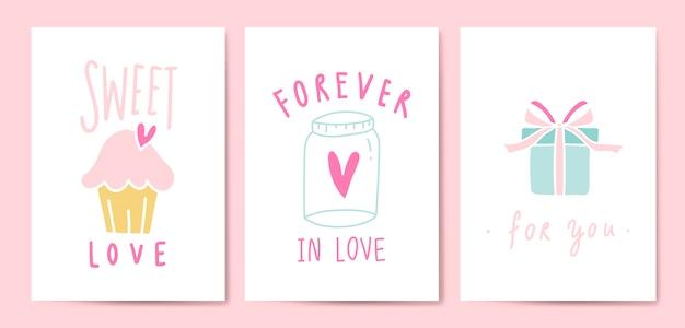Expressões de amor postal conjunto vector Vetor grátis