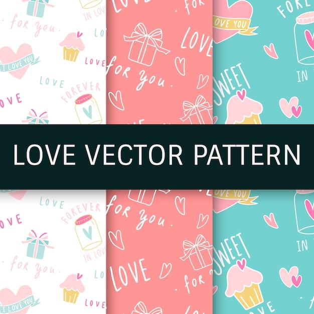 Expressões de amor sem costura fundo vector set Vetor grátis