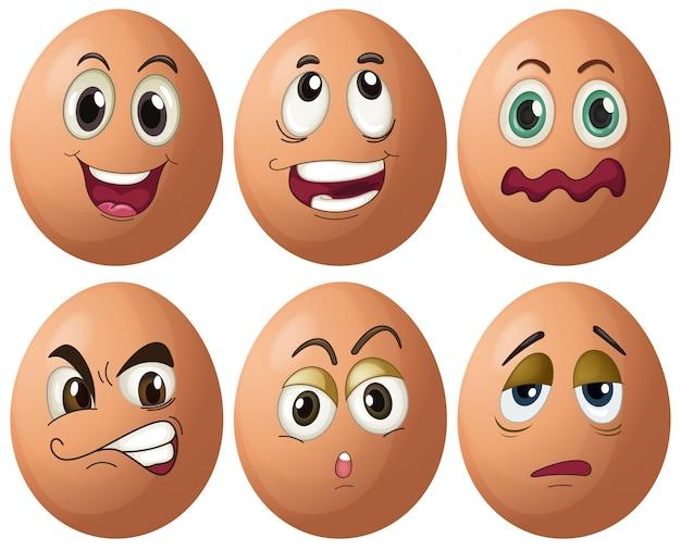 Expressões de ovo Vetor grátis