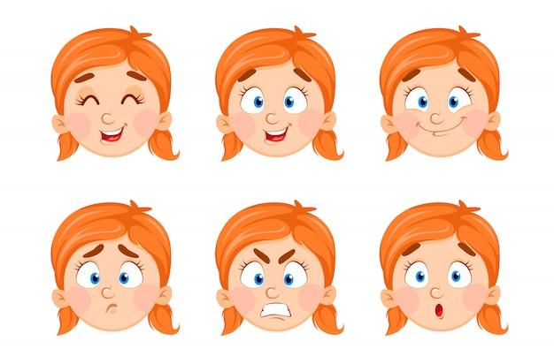 Expressões de rosto de menina bonitinha Vetor Premium