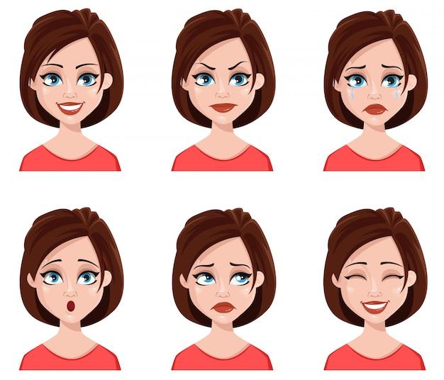 Expressões faciais de mulher bonita. Vetor Premium
