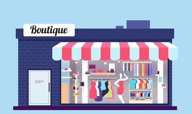 Exterior da loja de moda. exterior de boutique de loja de beleza com frente e loja. ilustração vetorial Vetor Premium