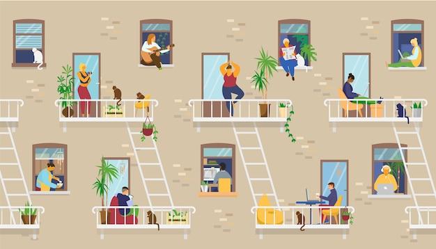 Exterior de casa com pessoas nas janelas e varandas ficando em casa e fazendo atividades diferentes: estudar, tocar violão, trabalhar, fazer ioga, cozinhar, ler. ilustração. Vetor Premium