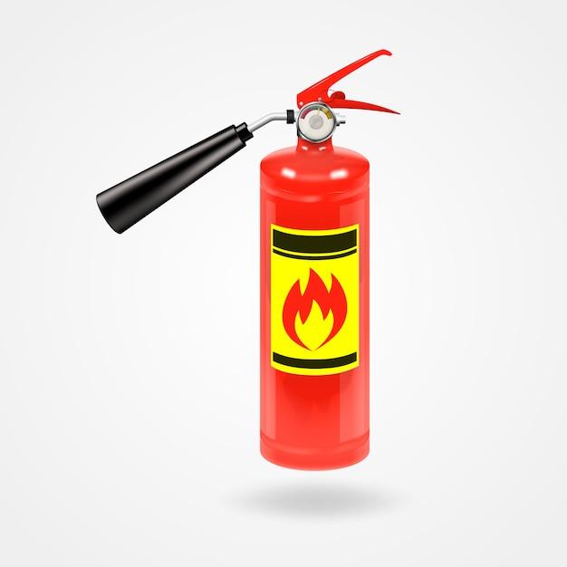 Extintor de fogo vermelho brilhante brilhante. Vetor Premium