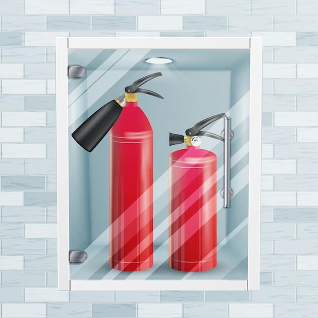 Extintor no vetor da ameia da parede de tijolo. ilustração de realista de extintor vermelho metal glossiness Vetor Premium