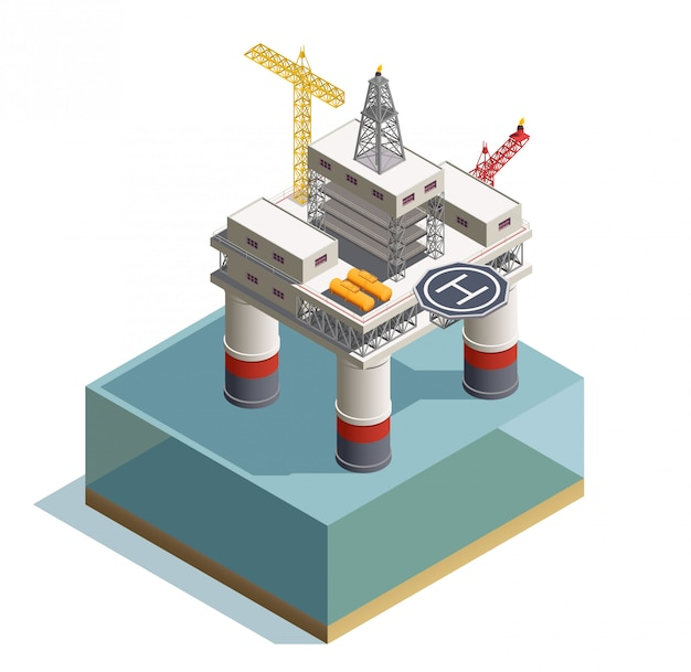 Extração de óleo cru sob a composição isométrica de depósitos no fundo do mar com ilustração de plataforma de perfuração Vetor grátis