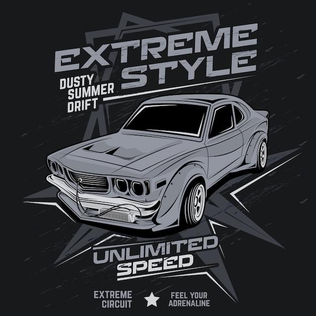 Extremo estilo verão empoeirado deriva, ilustração vetorial de carro Vetor Premium