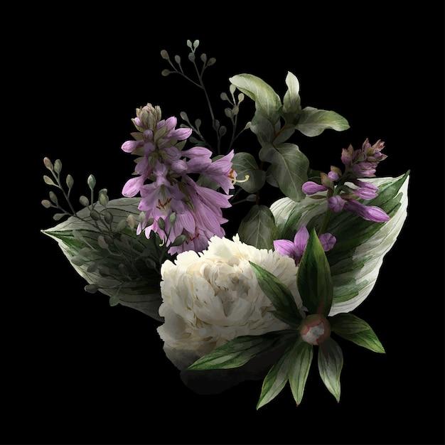 Exuberante bouquet floral em low key, fundo preto, flores de hosta, peônias brancas e folhas, ilustração wtercolor desenhada à mão. Vetor Premium