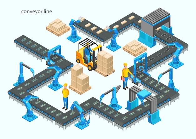Fábrica automática com linha transportadora e braços robóticos. processo de montagem. Vetor Premium