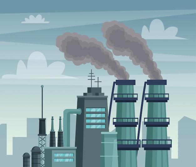 Fábrica de chimeny poluindo a cena do ar Vetor Premium