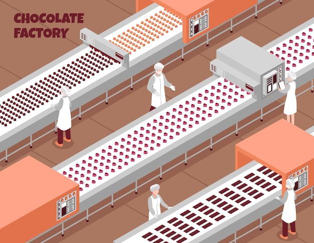 Fábrica de chocolate isométrica com linha de produção de alimentos automatizada e pessoas que controlam o processo de trabalho Vetor grátis