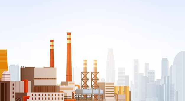 Fábrica de construção de natureza poluição planta tubulação de resíduos bandeira Vetor Premium