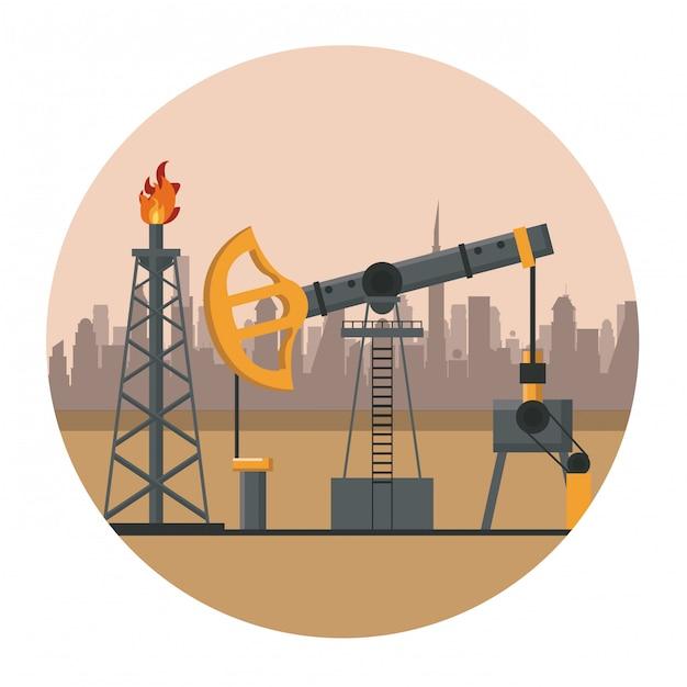 Fábrica de maquinaria de petróleo Vetor Premium