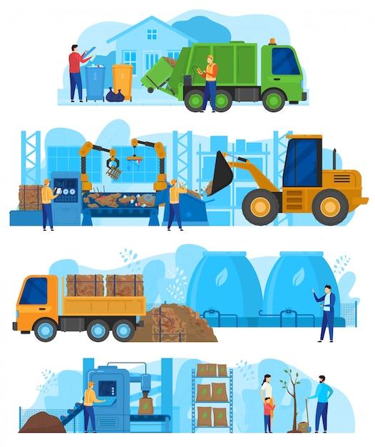 Fábrica de processamento de resíduos, carros de máquinas da indústria de reciclagem de lixo, van e trator com pessoas trabalhadores ilustração em vetor Vetor Premium