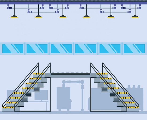 Fábrica dentro de lugar com escadas Vetor Premium