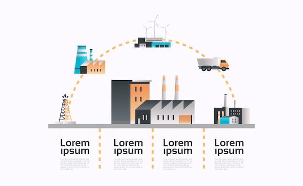 Fábrica edifício ícone infográfico modelo planta com canos e poder da chaminé Vetor Premium
