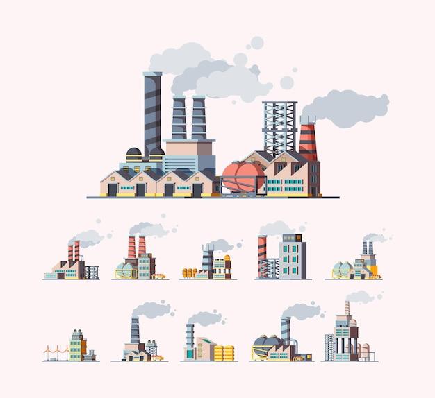 Fábrica. edifícios industriais fabricam imagens planas de poluição do ar. ilustração de construção de torre de manufatura, construção de produção com pipeline Vetor Premium