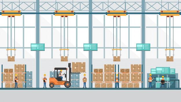 Fábrica industrial inteligente em um estilo simples com trabalhadores, robôs e linha de montagem de embalagem. Vetor Premium
