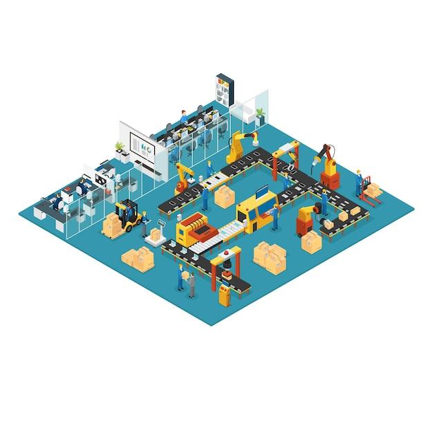 Fábrica industrial isométrica Vetor Premium