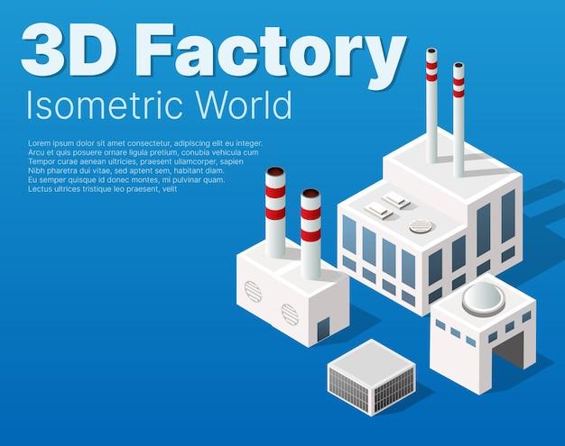 Fábrica urbana industrial isométrica do módulo da cidade que inclui edifícios, usinas de energia, gás de aquecimento, armazém. elemento isolado de mapa plano Vetor Premium