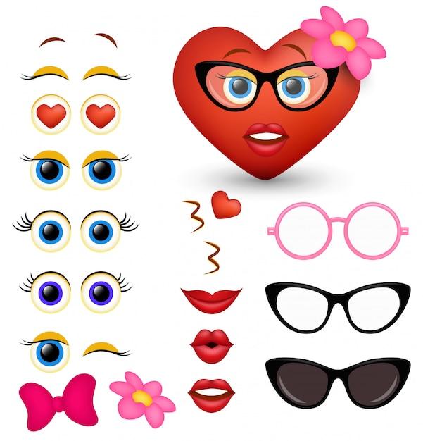 Fabricante de emoji de coração vermelho feminino, criador de emoticon Vetor Premium