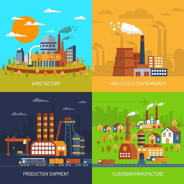 Fábricas industriais e plantas flat set Vetor grátis