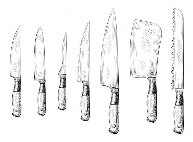 Faca de jantar desenhada de mão. facas de chef vintage, conjunto de ilustração de faca de cozinha gravada Vetor Premium