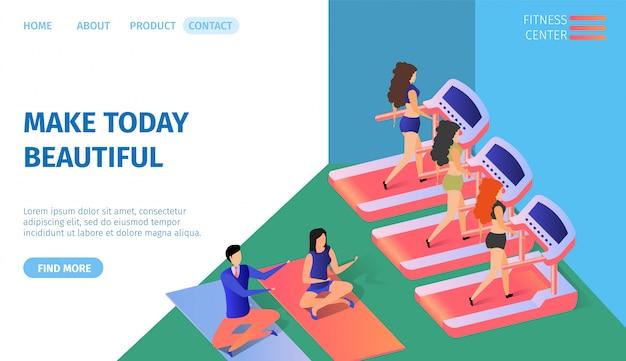 Faça hoje linda faixa horizontal. ginástica Vetor Premium