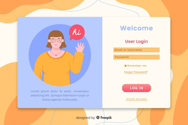 Faça login na página de destino com design plano Vetor grátis