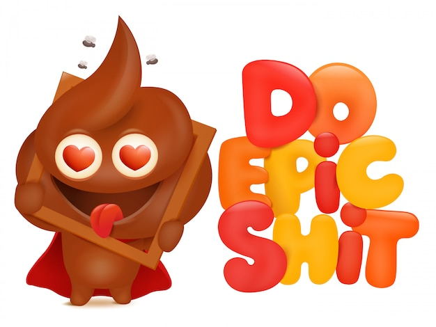 Faça o cartão do conceito da merda épica com caráter do emoji dos desenhos animados do poo. ilustração vetorial Vetor Premium