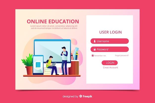 Faça o login na página de destino da educação on-line Vetor grátis