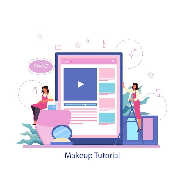 Faça o serviço online. tutorial em vídeo online, faça um blog. Vetor Premium