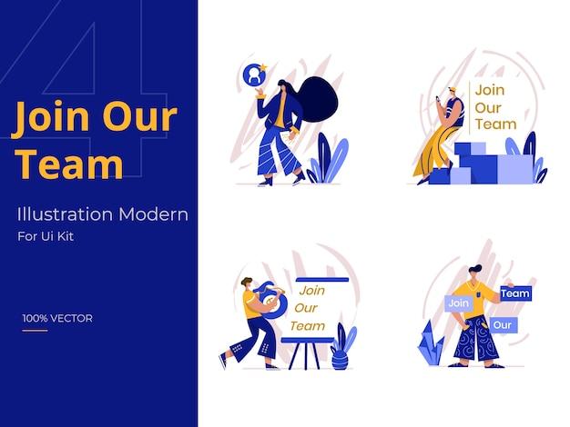 Faça parte da nossa equipe ilustração, o conceito de recrutamento Vetor Premium