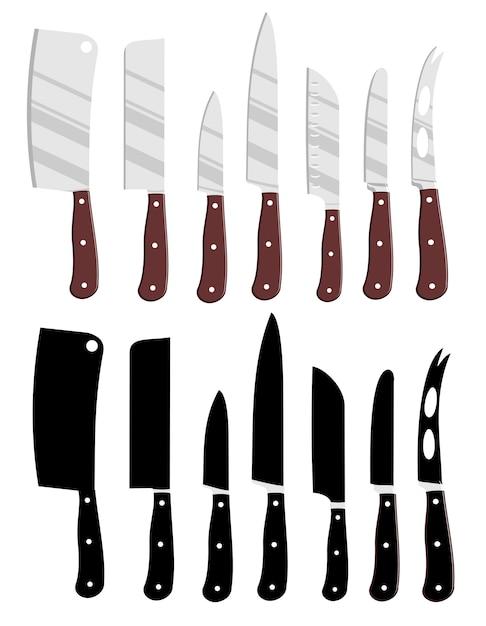 Facas de cozinha dos desenhos animados e silhuetas de facas de cozinha preto. Vetor Premium
