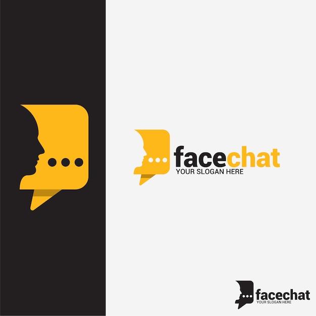 Face chat logo Vetor Premium