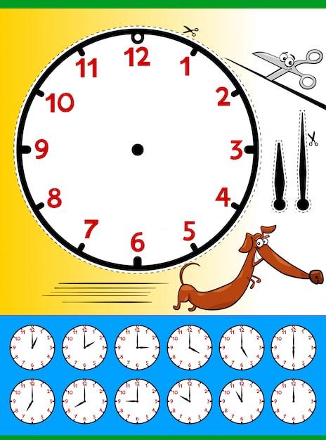 Face do relógio dizendo tempo educacional página para crianças Vetor Premium