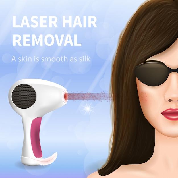 Face fêmea na remoção escura do cabelo do laser dos vidros. Vetor Premium