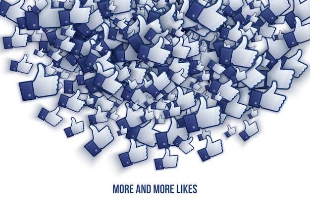 Facebook 3d como ícones de mão - arte vetorial Vetor Premium