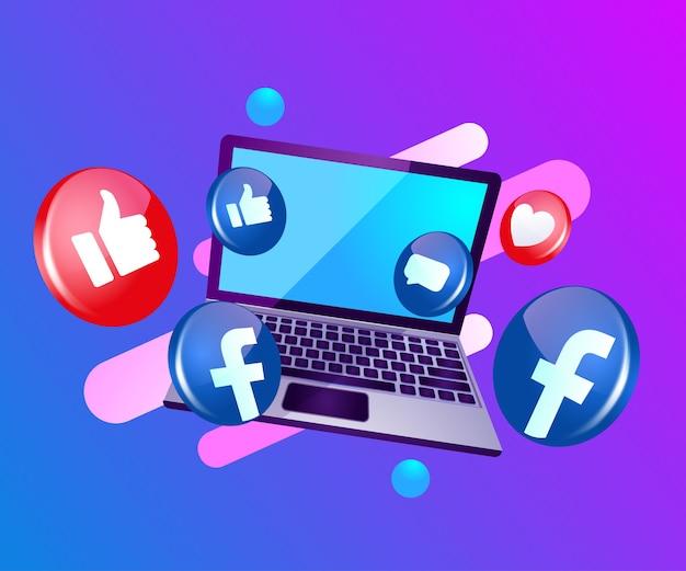 Facebook 3d ícone de mídia social com laptop dekstop Vetor Premium