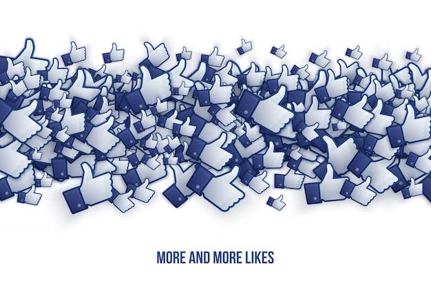 Facebook como mão ilustração abstrata conceitual Vetor Premium