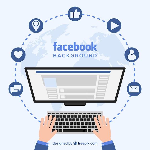 Facebook, fundo, computador, tela Vetor grátis